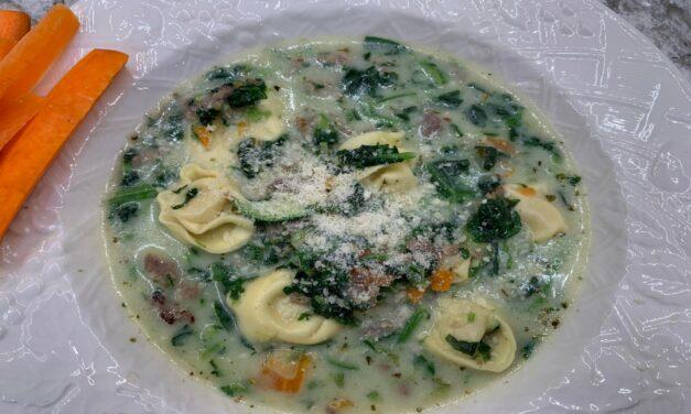 Creamy Veggie, Tortellini & Sausage Soup